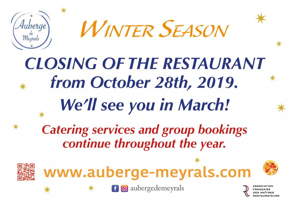 The restaurant is currently closed. You can contact us for catering and 20 people and more groups reservations.